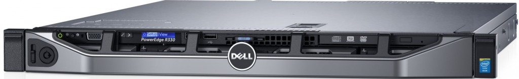 "Dell PowerEdge R330 (Ratchet) rack server with bezel, lcd model with 4 x 3.5"" HDD configuration for business networking."