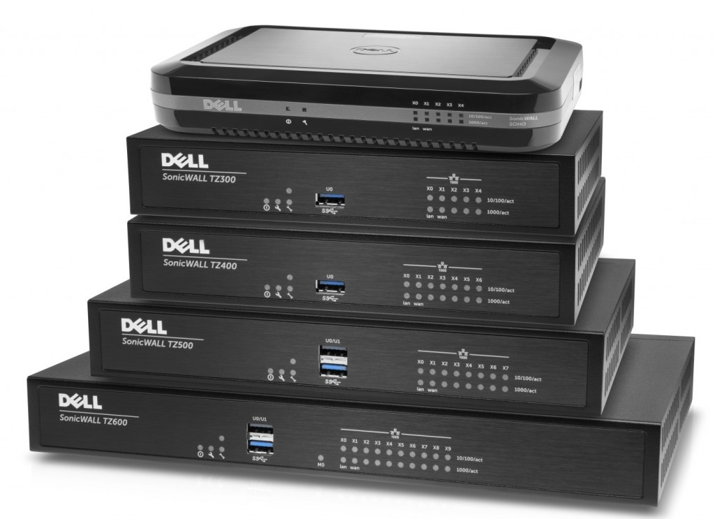 Sonicwall TZ-Series family in a stack, featuring Sonicwall TZ600, TZ500, TZ400, TZ300, and SOHO networking security appliances for business networking.