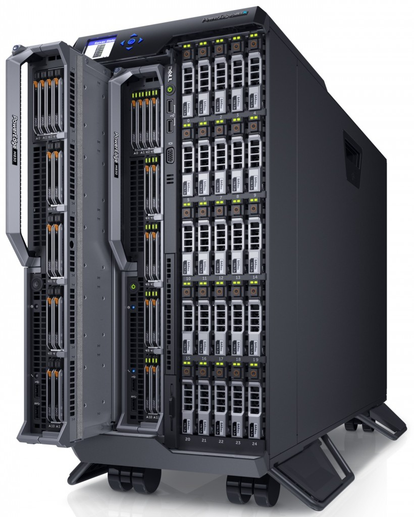 Dell PowerEdge VRTX server enclosure populated with PowerEdge M830 servers and storage modules.