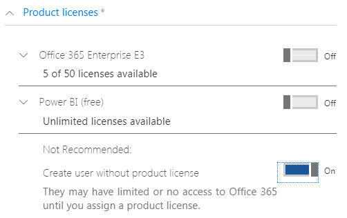 User Assigned Product Licenses