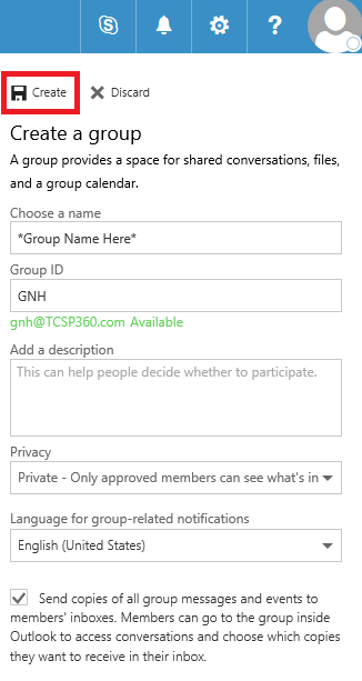 Office 365 Creating A Contact Group Step 9