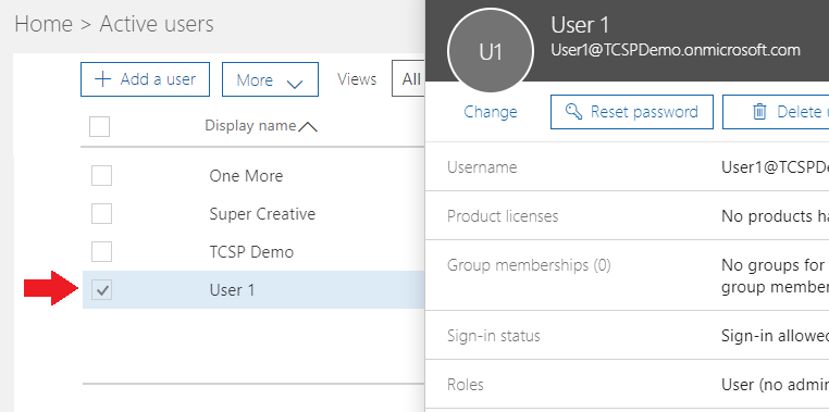 Office 365 Admin Select User