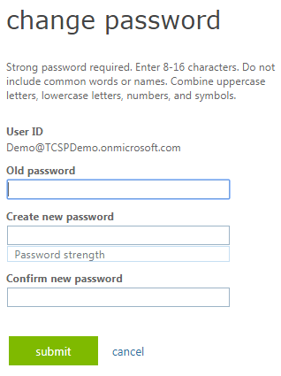 Office 365 Change your password