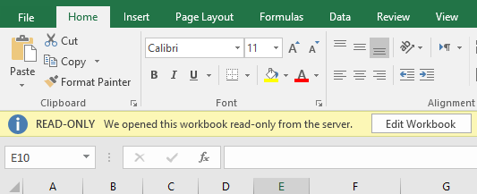MS Excel 2016 Read-only