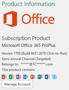 MS Office Subscription Info Version Channel