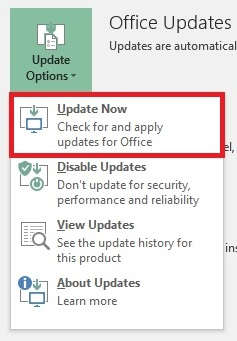 MS Office Update Now