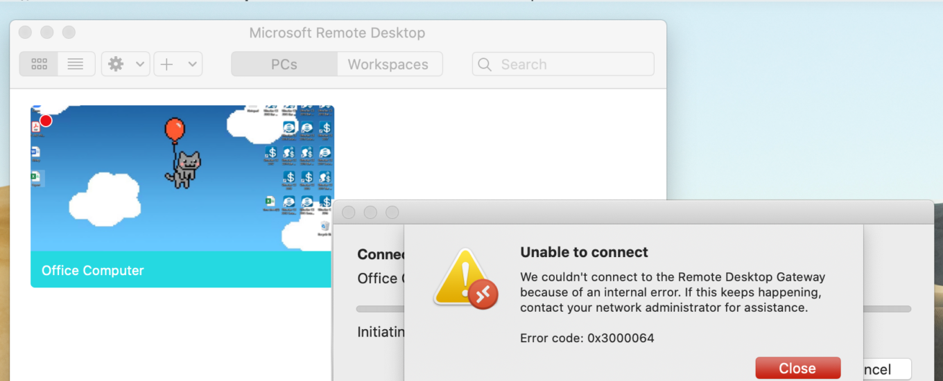 Microsoft Remote Desktop 0x3000064 Unable to connect